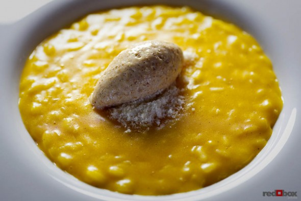 Butternut squash risotto with Amaretto cream and Parmigiano Reggiano created by Chef Scott Carsberg at Bisato Restaurant in Seattle, Wash. (Seattle Food Photography By Scott Eklund/Red Box Pictures)
