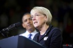 Senator Patty Murray speaks with President Obama behind her at the University of Washington on Thursday October 21, 2010. (Photography By Scott Eklund/Red Box Pictures/Seattle)