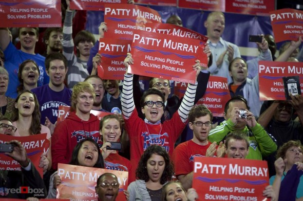 Supporters hold campaign signs for Senator Patty Murray at the University of Washington on Thursday October 21, 2010. (Photography By Scott Eklund/Red Box Pictures)