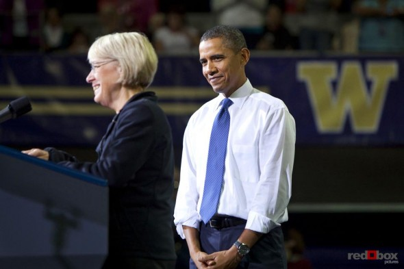 President Barrack Obama watches as Senator Patty Murray speaks at the University of Washington on October 21, 2010. (Photography By Scott Eklund/Red Box Pictures)