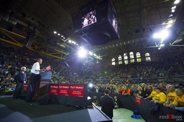 President Barack Obama speaks to a packed house for Senator Patty Murray at Hec Edmondson Pavilion on the campus of the University of Washington in Seattle. (Photography By Scott Eklund/Red Box Pictures)