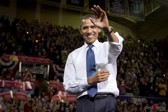 President Barack Obama waves at the crowd as he campaigns for Senator Patty Murray at the University of Washington on Thursday October 21, 2010. (Photography: Scott Eklund/Red Box Pictures)