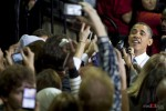President Barack Obama makes his way to the exit at University of Washington in Seattle after his speech on Thursday October 21, 2010. (Photography By Scott Eklund/Red Box Pictures)