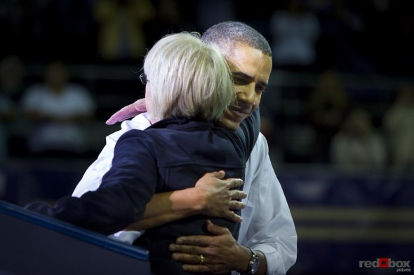 President Barack Obama give U.S. Senator Patty Murray a hug after her speech at the University of Washington. Photography By Scott Eklund/Red Box Pictures