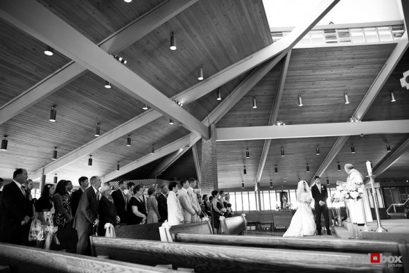An overall photo of Nadine and Brian's wedding at St. Madeleine Sophie Catholic Church in Bellevue. (Photo by Dan DeLong/Red Box Pictures)