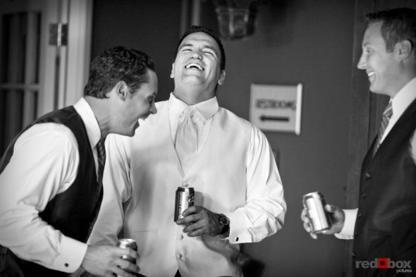 The groom and his groomsmen laugh it up prior to the wedding at The Hall at Fauntleroy in Seattle, Washingon. (Seattle Wedding Photography Rob Sumner Red Box Pictures)