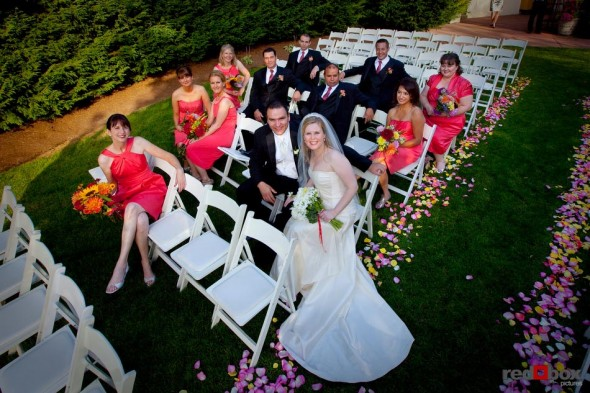 The bride & groom and the bridal party at their wedding at The Hall at Fauntleroy in Seattle, Washington. (Wedding Photography Scott Eklund Red Box Pictures Seattle)