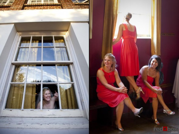 The bride and her bridesmaids peek out the window prior to the start of the wedding at The Hall at Fauntleroy in Seattle, Washington. Wedding Photography Scott Eklund Red Box Pictures Seattle