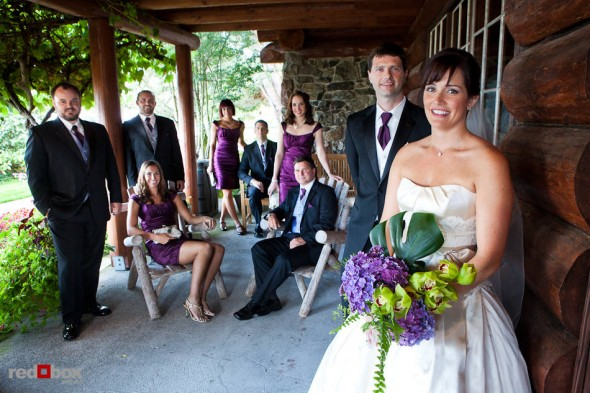 Suzy and Michael's wedding party poses for a photo at Kiana Lodge in Poulsbo, WA. (Photo by Andy Rogers/Red Box Pictures)