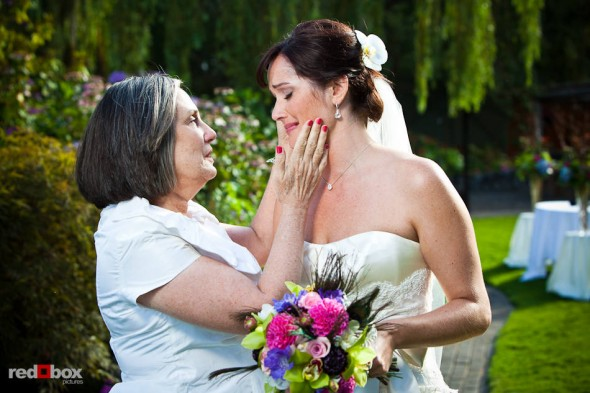 Suzy is comforted by her mother before her wedding with Michael at Kiana Lodge in Poulsbo, WA. (Photo by Dan DeLong/Red Box Pictures)