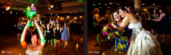Suzy throws her bouquet during her wedding reception at Kiana Lodge in Poulsbo, WA. (Photo by Dan DeLong/Red Box Pictures)