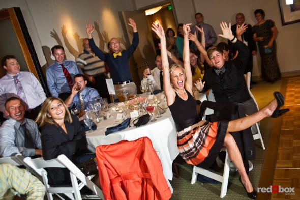 Guests of Nadine and Brian's wedding react to the introduction of Dueling Pianos of Jeff & Rhiannon of Noteworthy Productions, Inc. at the Plateau Club in Sammamish, WA. (Photo by Dan DeLong/Red Box Pictures)