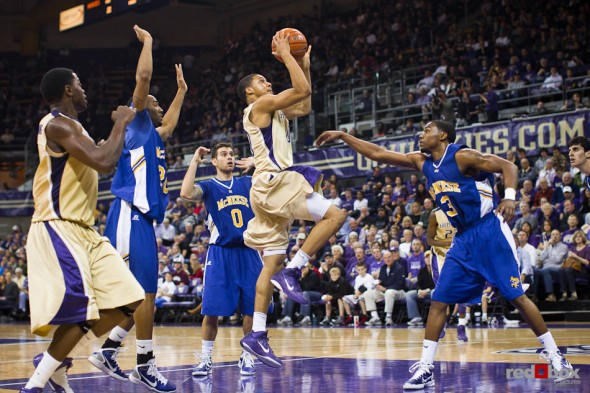 Washington Huskies guard Abdul Gaddy drives to the basket and scores against McNeese State Cowboys during the season opener at UW's Hec Edmundson Pavilion. (Photo by Dan DeLong/Red Box Pictures)