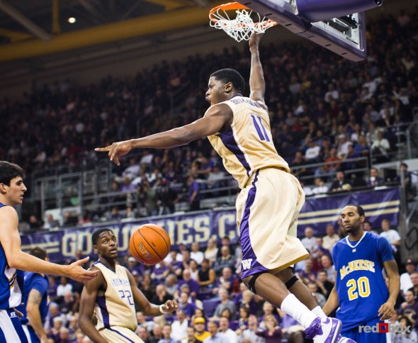 Washington Huskies' Matthew Bryan-Amaning celebrates a dunk, on his way to a career-high 28 points, against the McNeese State Cowboys during thethe men's basketball season opener at UW's Hec Edmundson Pavilion. (Photo by Dan DeLong/Red Box Pictures)