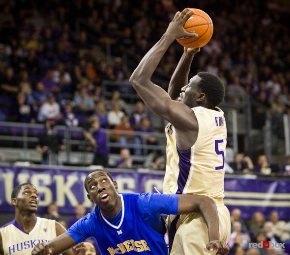 Washington Huskies' 7-foot center Aziz N'Diaye goes up for a shot against the McNeese State Cowboys during the men's basketball season opener at UW's Hec Edmundson Pavilion. (Photo by Dan DeLong/Red Box Pictures)