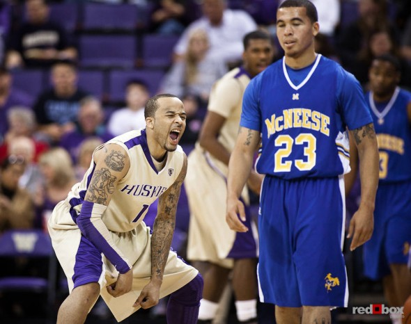 Venoy Overton, a guard for the Washington Huskies' basketball team, reacts to a call during the men's basketball season opener against McNeese State at UW's Hec Edmundson Pavilion. (Photo by Dan DeLong/Red Box Pictures)