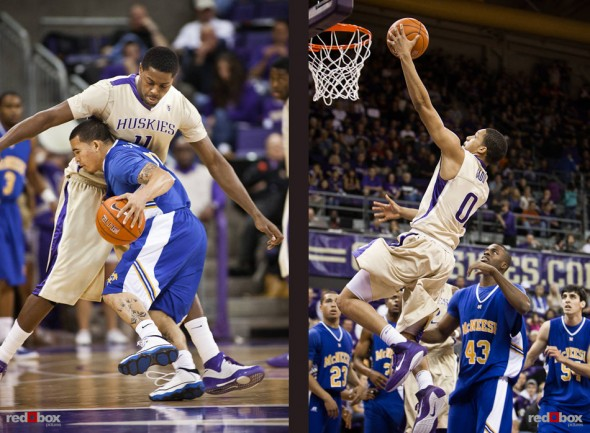 Washington Huskies' center Michael Bryan-Amaning defends and guard Abdul Gaddy shoots against the McNeese State Cowboys during the men's basketball season opener at UW's Hec Edmundson Pavilion. (Photo by Dan DeLong/Red Box Pictures)
