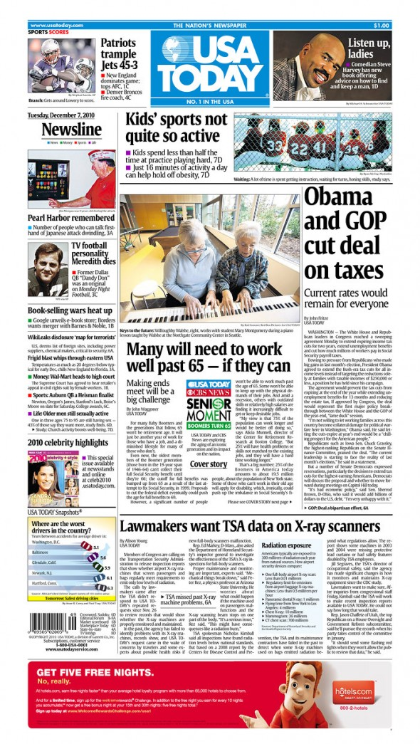 Front Page of USA Today with photo by Rob Sumner/Red Box Pictures