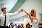Nora and Neill share their first dance during their wedding reception at the Bellevue Art Museum. (Photo by Dan DeLong/Red Box Pictures)