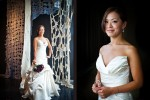 The bride, Nora, poses for portraits in the Bellevue Art Museum. (Photo by Dan DeLong/Red Box Pictures)