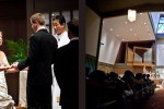 Nora and Neill during their wedding ceremony at the First United Methodist Church in Bellevue, WA.