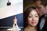 A portrait of newlyweds Nora and Neill at the Bellevue Art Museum. (Photo by Dan DeLong/Red Box Pictures)