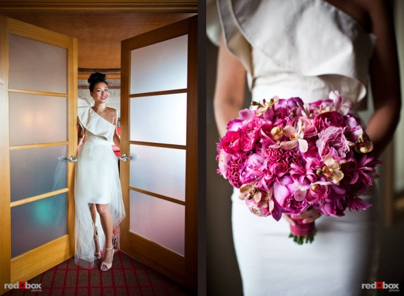 Angie, with her flowers, in her Edgewater hotel room before her Seattle wedding with Jordan. (Photo by Dan DeLong/Red Box Pictures)