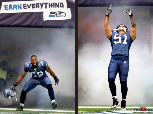 Aaron Curry (left) and Lofa Tatupu are introduced prior to the start of the Seattle Seahawks' game with the Carolina Panthers at Qwest field on Sunday. (Sports Photography By Scott Eklund/Red Box Pictures)
