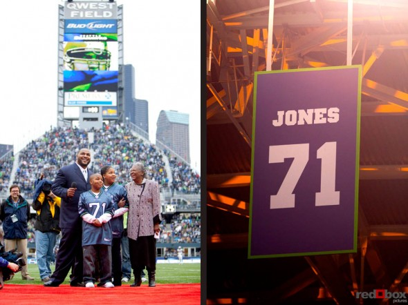 Walter Jones, along with his children son Walterius and daughter Waleria, and mother Earline watch as his number is retired during the two-minute warning of the first half of the Seattle Seahawks game at Qwest Field in Seattle on Sunday December 5, 2010.(Seattle Sports Photography By Scott Eklund/Red Box Pictures)