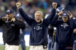 Seattle Seahawk's head coach Pete Carroll celebrates Seattle's final defensive stand at the goal line late in the fourth quarter as the Seattle Seahawks beat the Carolina Panthers. (Seattle Sports Photography By Scott Eklund/Red Box Pictures)