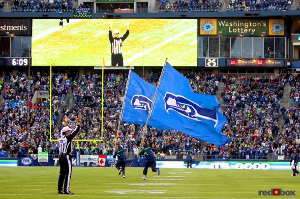 The Seahawks' flags come out as the Seahawks go ahead 24-14 in the third quarter of their 31-14 win over the Carolina Panthers.(Seattle Photography By Scott Eklund/Red Box Pictures)