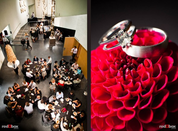 An overall view of Nora and Neill's wedding reception and a closeup of their rings taken at the Bellevue Art Musuem. (Photo by Dan DeLong/Red Box Pictures)