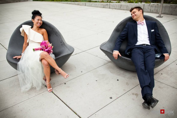 Angie and Jordan relax before their wedding in Seattle's Olympic Sculpture Park. (Photo by Dan DeLong/Red Box Pictures)