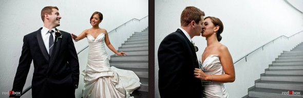 Nora and Neill have their first look on a staircase in the Bellevue Art Museum before being married. (Photo by Dan DeLong/Red Box Pictures)