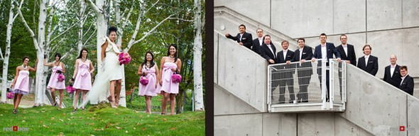 Angie and Jordan pose with with their wedding party at the Olympic Sculpture Park in Seattle. (Photo by Dan DeLong/Red Box Pictures)