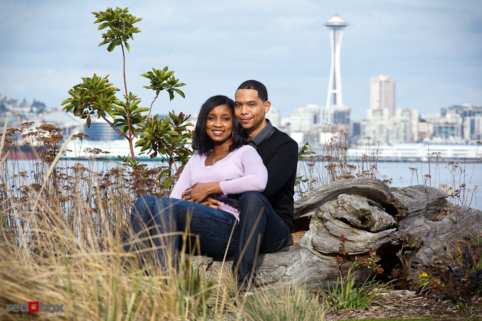 Nick And Tia Sit At Seacrest Park In West Seattle For Their Engagement Portrait Session