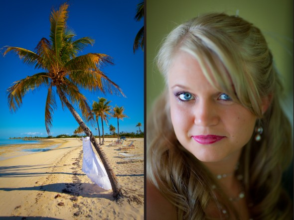 A portrait of the bride and her dress as it hangs on a palm tree before the wedding at the Old Bay Bahama Resort in the Bahamas. (Wedding Photography by Scott Eklund/Red Box Pictures)