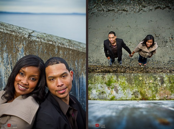 Nick and Tia stand on Alki Beach near the concrete stairs during thier engagement portrait session in West Seattle Sunday, Feb. 13, 2011. (Photography by Andy Rogers/Red Box Pictures)