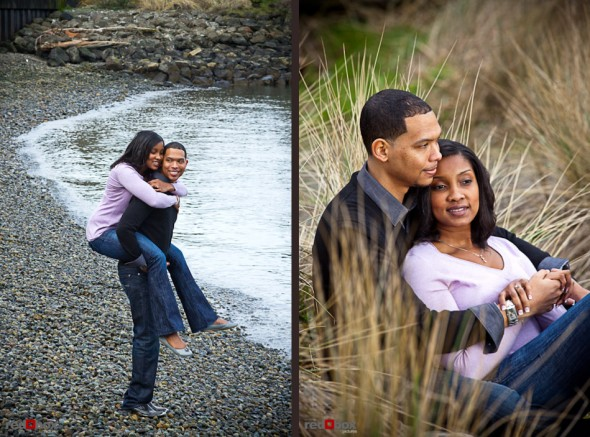 Nick gives Tia a piggy back ride on the beach and sitting in the tall grass at Seacrest Park in West Seattle near Alki Beach. (Photography by Andy Rogers/Red Box Pictures)