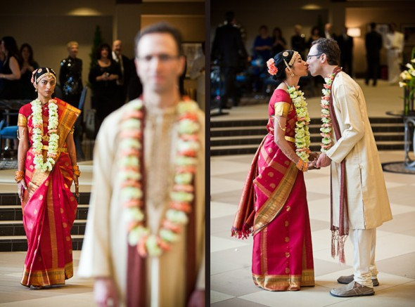 Karthik and Mike see each other in their Indian wedding finery for the first time prior to their Indian wedding ceremony at the Uptown Hideaway in Seattle. (Photo by Andy Rogers/Red Box Pictures)