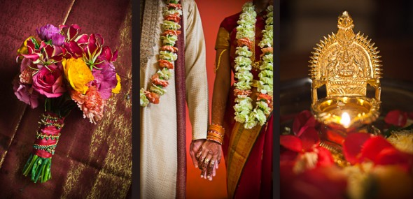 Left, Karthik's bouquet, center: Karthik and Mike hold hands at the Maxwell Hotel prior to their Seattle Indian wedding ceremony. (Photography by Andy Rogers/Red Box Pictures)