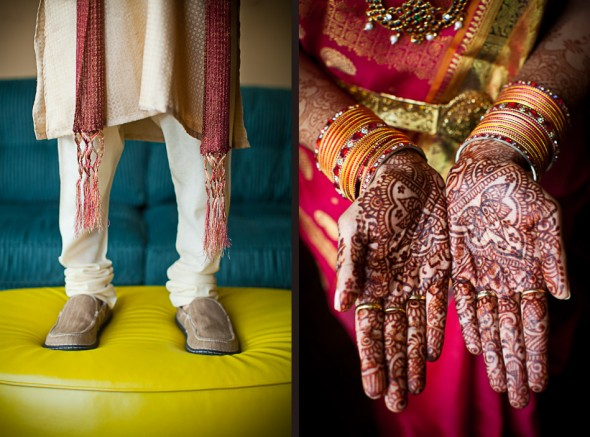 Left: Mike stands in his Indian outfit prior to his Hindu ceremony at the Uptown Hideaway in Seattle. (Photography by Andy Rogers/Red Box Pictures) Right: Karthik displays the mehndi design on her palms prior to her Indian wedding ceremony at the Uptown Hideaway in Seattle. (Photo by Dan DeLong/Red Box Pictures)
