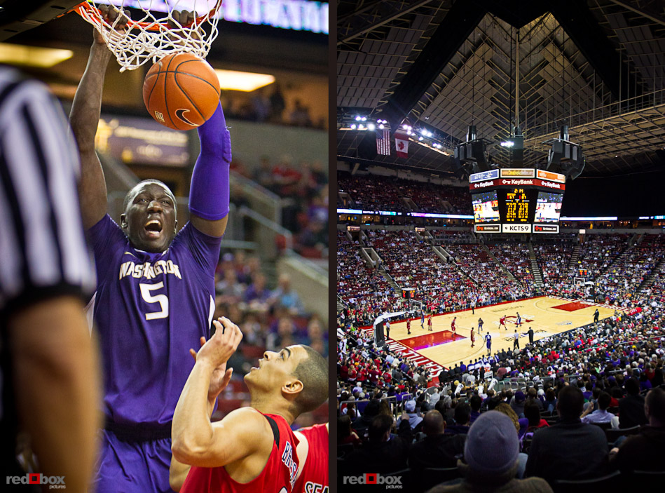 The University of Washington Huskies center Aziz N'Diaye dunks against the Seattle University Redhawks at Key Arena in Seattle Tuesday, Feb. 22, 2011. (Photo by Andy Rogers/Red Box Pictures)