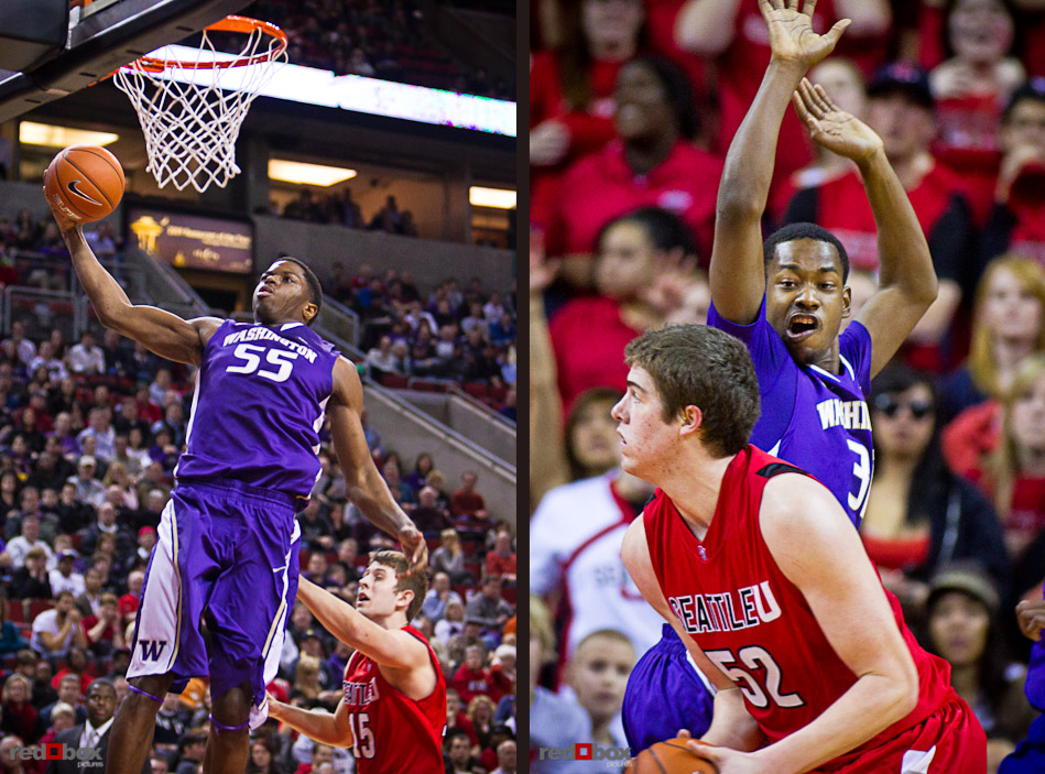 The University of Washington Huskies Matthew Bryan-Amaning dunks and Terrence Ross defends against Seattle University Redhawks Alex Jones at Key Arena in Seattle Tuesday, Feb. 22, 2011. (Photo by Andy Rogers/Red Box Pictures)