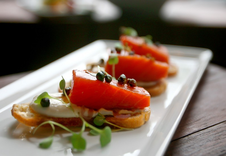 Food Photography - Smoked salmon crostini at the Spur Gastropub.