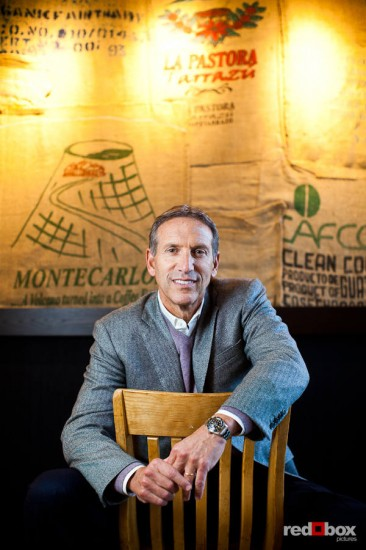 Starbucks CEO Howard Schultz photographed at Starbucks store in Seattle. Photography by Dan DeLong / Red Box Pictures.