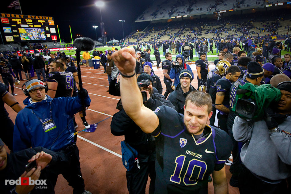 Jake Locker celebrates the University of Washington&#039;s victory over UCLA 24-7 at Husky Stadium on Thursday November 18, 2010. (Photography By Scott Eklund/Red Box Pictures)