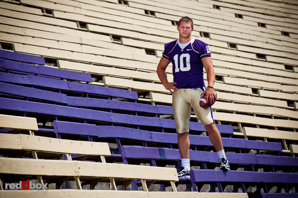 University of Washington quarterback Jake Locker is shown at Husky Stadium in Seattle Wednesday, Aug. 4, 2010. (Photo by Andy Rogers/Red Box Pictures)