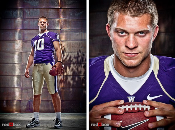 Jake Locker portrait photo at the University of Washington in Seattle in 2010. (Photo by Andy Rogers/Red Box Pictures)