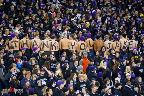 Fans show their love for Jake Locker during the last home game of his Washington Huskies career against UCLA Thursday November 18, 2010. (Photography By Scott Eklund/Red Box Pictures)